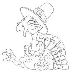Cute happy cartoon turkey vector