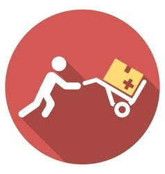 Medical shopping flat round icon with long shadow vector