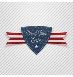 Fourth of july sale tag with ribbon vector