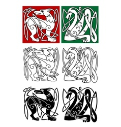 Abstract animals in celtic style vector image