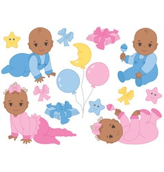 African american baby girl and boy set vector