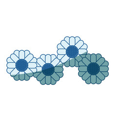 Blue shading silhouette of abstract sunflowers vector