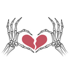 Broken heart in skeleton hands vector