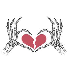 broken heart in skeleton hands vector image vector image