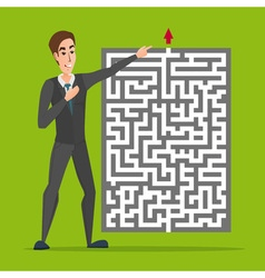 Businessman standing in front of a maze with red vector