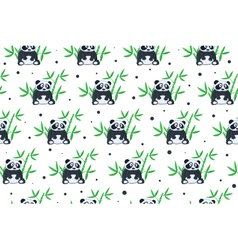 Cartoon panda pattern vector image
