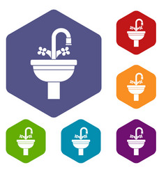 ceramic sink icons set vector image vector image