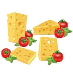 Cheese cherry tomatoes basil vector