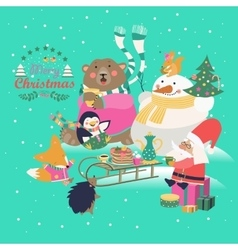 Cute animals celebrating christmas vector