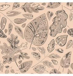 Decorative ornamental seamless pattern with leaves vector image vector image