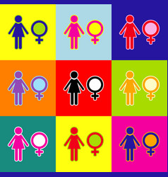 female sign pop-art style vector image vector image