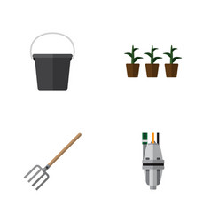 Flat icon garden set of pump flowerpot hay fork vector
