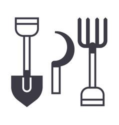 garden tools shovel hayfork line icon vector image