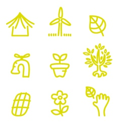 Green doodle environment and nature icons vector image