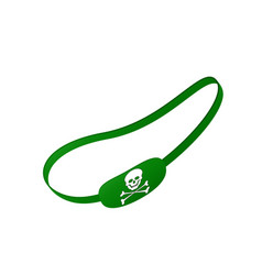 green eye patch with skull symbol vector image vector image