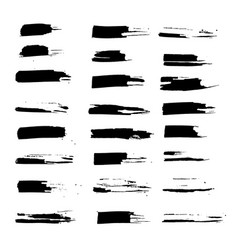 Grunge ink brush strokes set freehand black vector