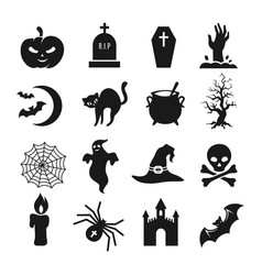 halloween black silhouette icons vector image