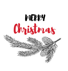 happy christmas calligraphy vector image