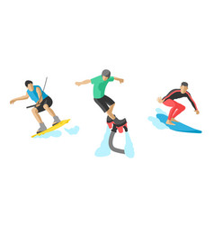 jumping extreme athletes silhouettes vector image