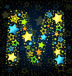 Letter M cartoon star colored vector image vector image
