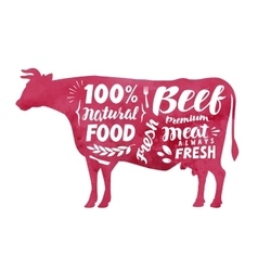 Meat fresh beef label silhouette cow vector