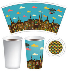 Paper cup for hot drink with old town and airship vector