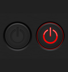 power button black button with red backlight vector image vector image