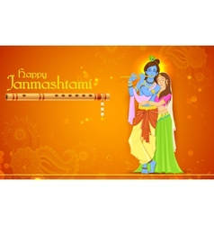 Radha and lord krishna on janmashtami vector