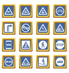 Road sign set icons set blue vector