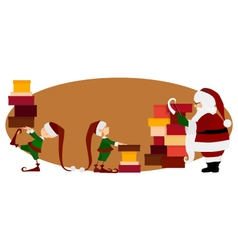 Santa claus and christmas elves with gifts vector
