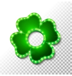 Shine lucky clover with shadow on abstract vector image