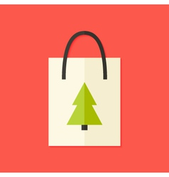 Shopping pack with christmas tree flat icon vector