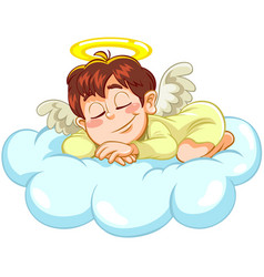 sleeping little baby angel vector image