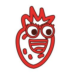 strawberry fruit kawaii character vector image
