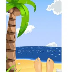 summer beach scene vector image vector image