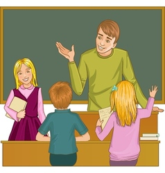 Teacher at blackboard in classroom with children vector image vector image