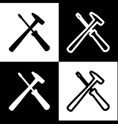 Tools sign black and white vector