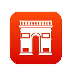 Triumphal arch icon digital red vector