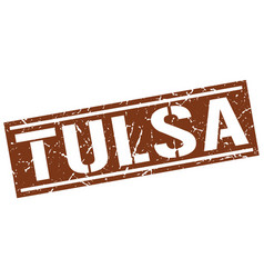 tulsa brown square stamp vector image vector image