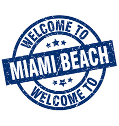 Welcome to miami beach blue stamp vector