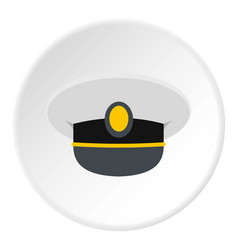 white nautical hat icon circle vector image vector image