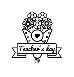 world teachers day greeting emblem vector image vector image