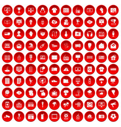 100 tv icons set red vector