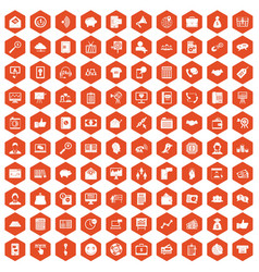 100 viral marketing icons hexagon orange vector image vector image