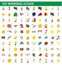 100 winning icons set cartoon style vector