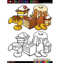 Cakes and cookies for coloring vector