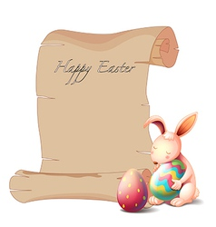 A bunny with two easter eggs vector