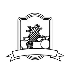 Silhouette rectangle heraldic border with still vector