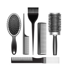 Set of grooming and curling radial hair brush vector