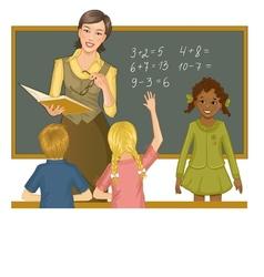 Teacher at blackboard explains children mathematic vector image